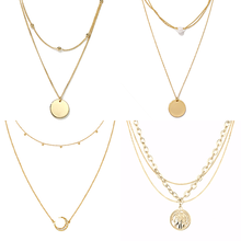 Stainless Steel Necklace For Women Multilayer Necklace Vintage Bohemian Double Layer Coin Pendant Chain Necklace Jewelry