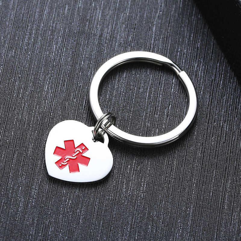 ผู้ชายผู้หญิงหัวใจการแพทย์ ID Charm Key CHAIN Anti Allergy สแตนเลสปรับแต่งฉุกเฉินเตือนข้อมูลเครื่องประดับ