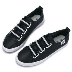 GOGC الأبيض النساء أحذية رياضية تنفس لينة السيدات أحذية من الجلد Autunm عادية الانزلاق على أحذية النساء حذاء خفيف Slipony النساء G915