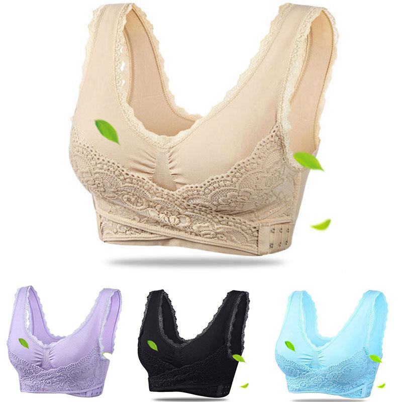 3XL Plus Size Sexy Lace Bralette Solid Cross Side Buckle Bra Brassiere Wireless Push up Bras for Women Lingerie Sleep Underwear