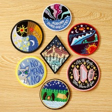 Wilderness Camping Patch Mountain Embroidered Patches For Clothing Iron On Clothes Sewing Van Gogh Sky Parches