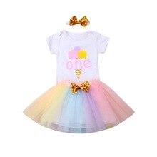 Baby Little Girls 1st Birthday Cake Smash Bodysuit Romper Ruffles Tutu Skirt Headband Cute Newborn Baby Girl Clothes 3PC Set D20 недорого