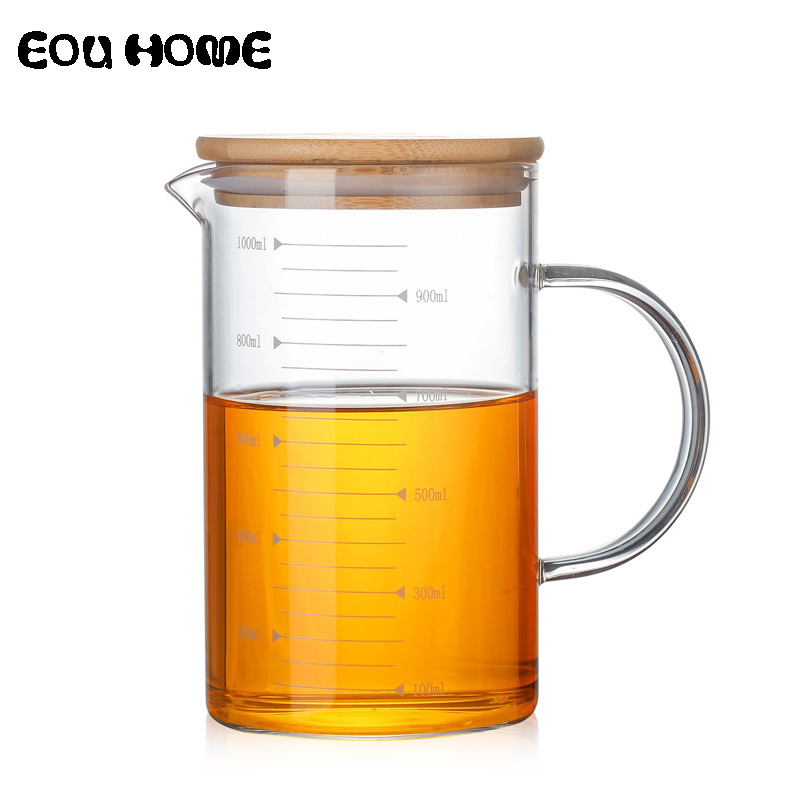 350/500/1000ml High Quality Heat Resistant Borosilicate Glass Measuring Teapots Fruit Juice Cups Water Bottle With Bamboo Cover