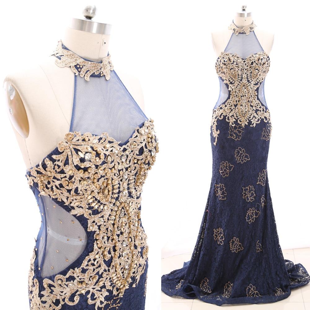 MACloth Dark Navy Sweep Train Halter Floor-Length Long Crystal Tulle   Prom     Dresses     Dress   L 266745 Clearance