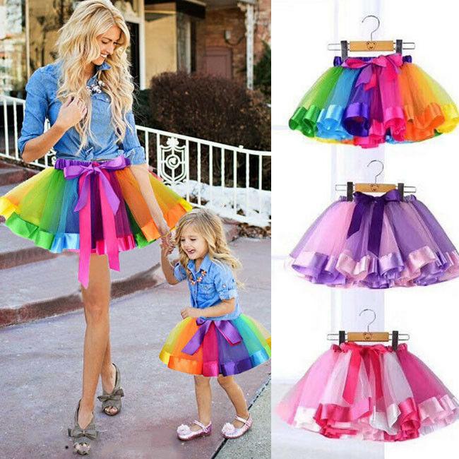 Women Girls Kids Rainbow Tutu Skirt Multicolour Petticoat Costume Ballet Dance