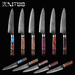 XITUO Kochmesser Damaskus VG10 Stahl Professionelle Japanischen Küche Messer Sharp Cut Hackmesser Slicing Messer Stabile Holz Griff