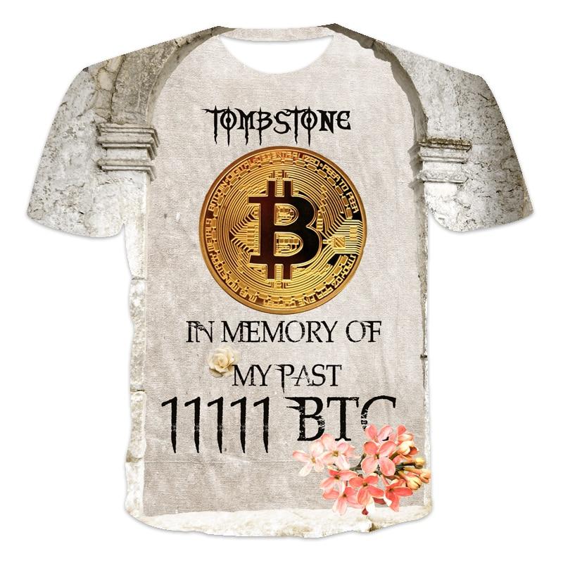 2021 latest design Men's T-shirt Bitcoin humor Letter printing Funny sentences 3D printed T-shirt Men and women Tees BTC series 6
