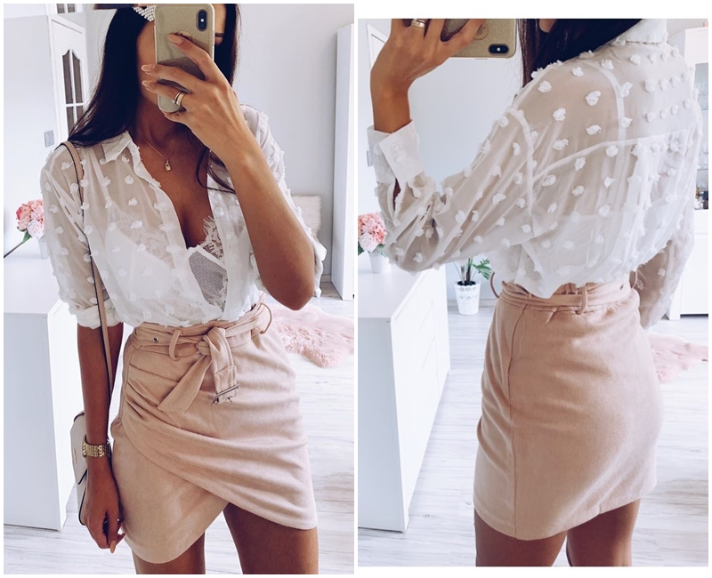 Affogatoo High waist suede leather skirts 18 Autumn winter belt ruched bodycon skirt Women asymmetric short skirts female 8