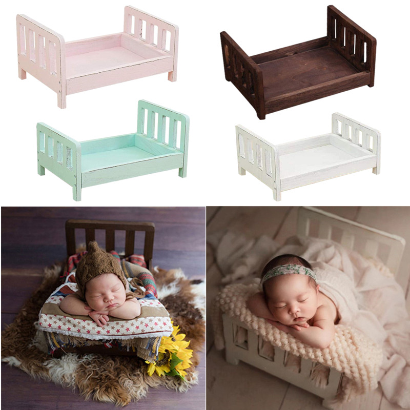Newborn Photography Props Wood Bed Infant Poses Baby Photography Prop Detachable Non-toxic Baby Background Photography Props