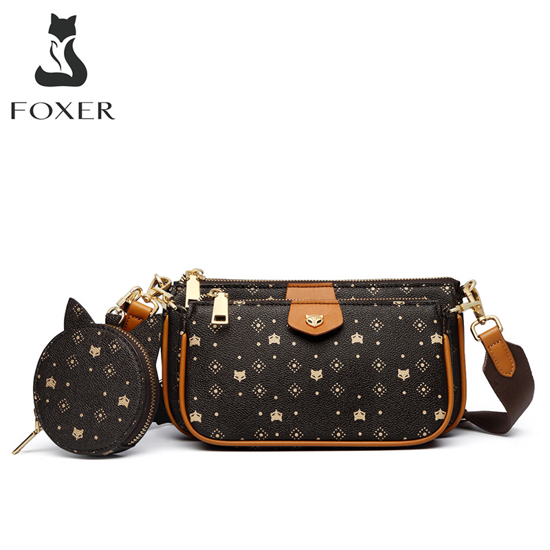 FOXER 2020 New 3 in 1 Crossbody Monogram Bags Signature Women Bag Removable Coin Purse PVC Leather Female Fashion Shoulder Bags Top-Handle Bags  - AliExpress