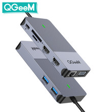 Qgeem hub usb 3.0 docking station triple display duplo hdmi vga usb adaptador divisor para xiaomi laptops usb c hub acessórios para pc