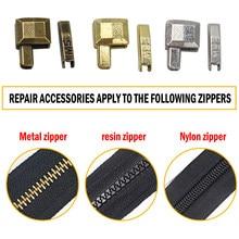 Metal fix kit de reparo do zíper substituição zip slider dentes substituir diy zíperes acessórios costura roupas zíper rolha extremidade aberta