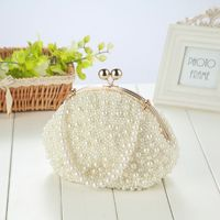 Fashion Artificial Pearls Clutch Evening Bag Women Formal Dinner Handbag Wedding Bridal Purse F42A