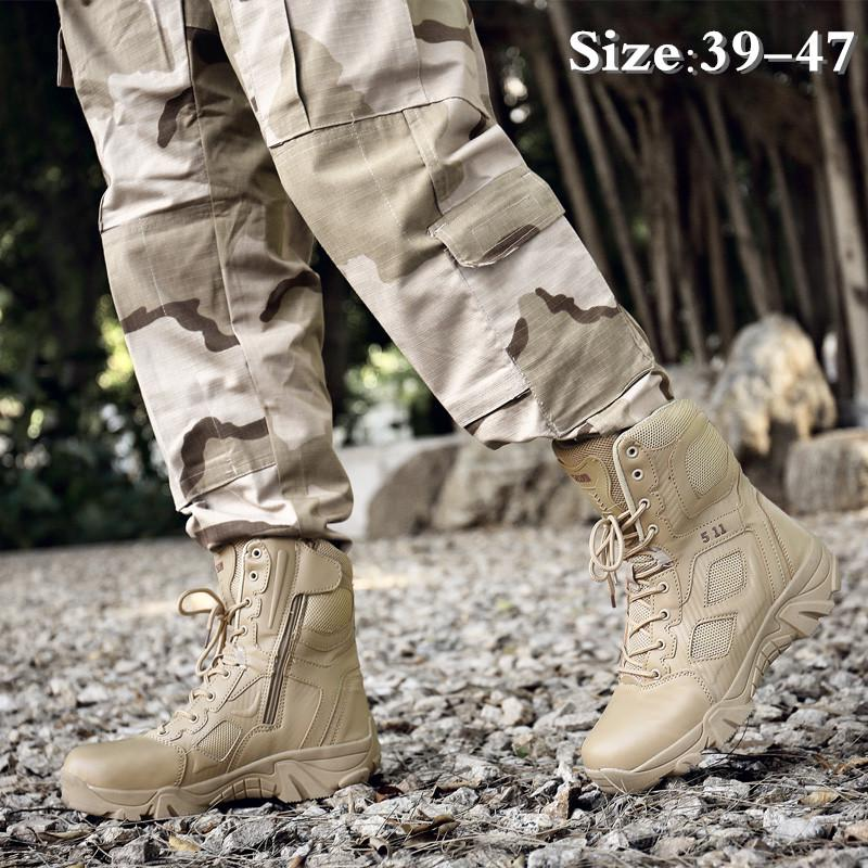 Men's Military Boots Fashion High Tall Outdoor Anti-collision Hiking Shoes Army Tactical Boots