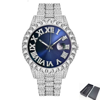 2021 Dropshipping Iced Out Watch Men Hip Hop Luxury Fully Bling Diamond Quartz Mens Watches Blue Face Waterproof AAA CZ Relojes hip hop luxury mens iced out cz waterproof watches date quartz wrist watches with micropave alloy watch for men jewelry