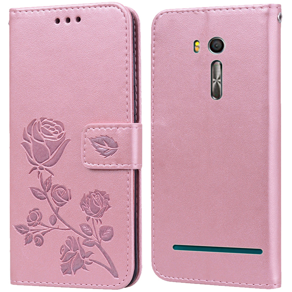 Luxury Leather Flip Book Case for <font><b>Asus</b></font> <font><b>Zenfone</b></font> Go ZB552KL <font><b>X007D</b></font> Rose Flower Wallet Stand Case Phone Cover Bag image