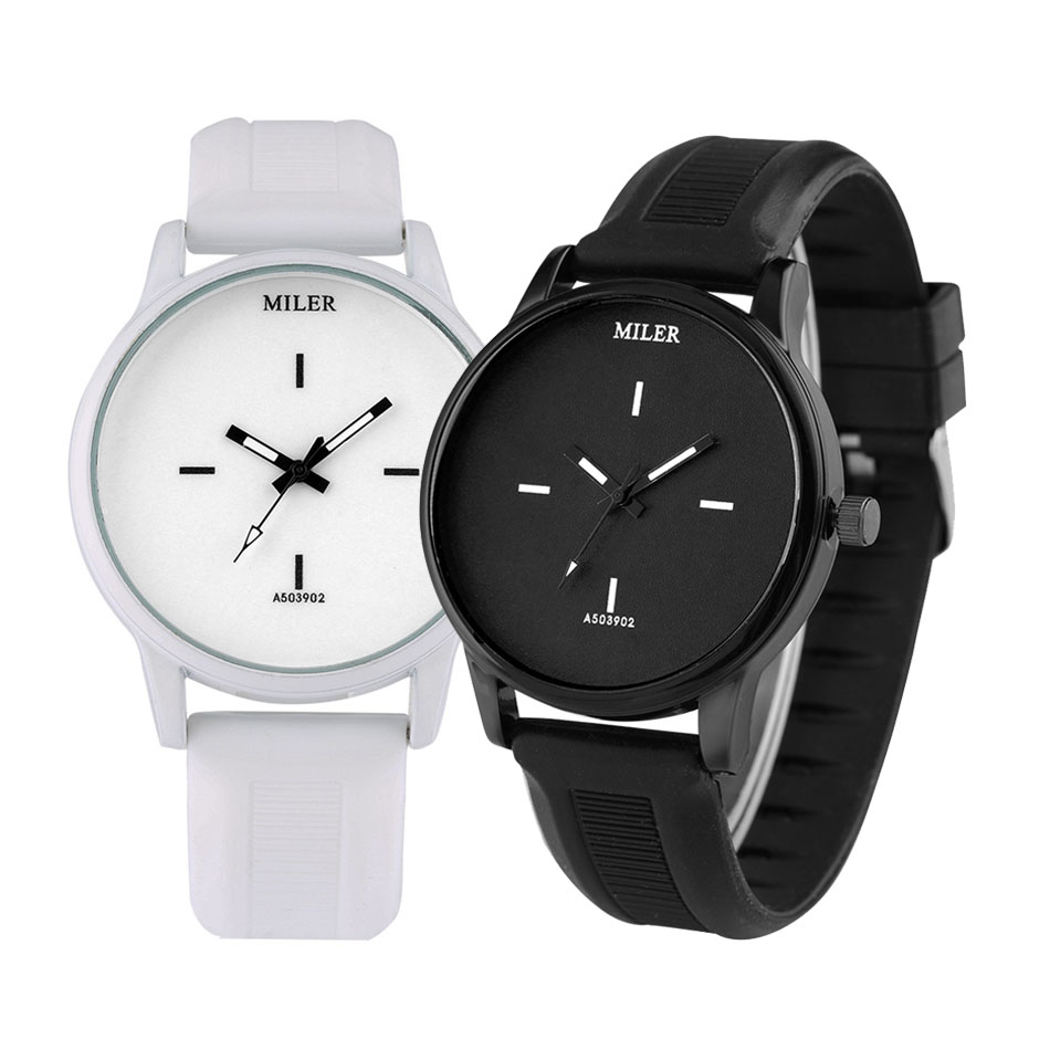 Minimalist Black/White Dial Couple Silicone Band Wristwatches Quartz Movement Stylish Lovers Watches New Arrival 2020