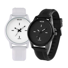 Minimalist Black/White Dial Couple Silicone Band Wristwatches Quartz Movement Stylish Lover