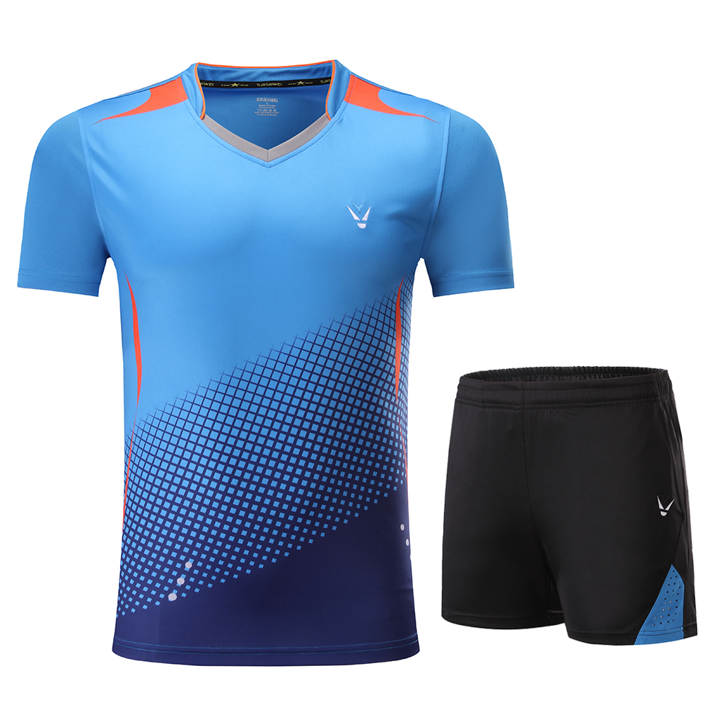 Детская рубашка для мальчиков бадминтон синий костюм для девочек бадминтон Женская рубашка форма для бадминтона теннисные командные спортивные комплекты, шорты, одежда - Цвет: 3860 Blue