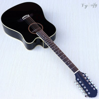 12 string sunburst color acoustic electric guitar 41 inch with electric EQ tuner function acoustic guitar
