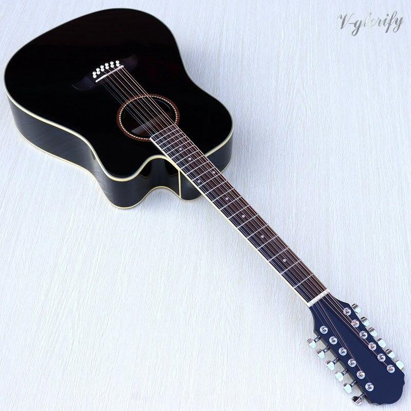 Guitare électrique acoustique de couleur de sunburst de 12 cordes 41 pouces avec la guitare acoustique de fonction de accordeur d'eq électrique