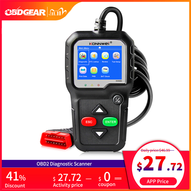 2020 Best Quality OBD2 Car Diagnostic Scanner KONNWEI KW680s Full OBD 2 Function Car Scanner  Car Diagnostic Tools  For the Car