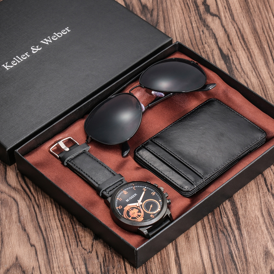 Luxury Rose Gold Men's Watch Business Leather Wallet Fashion Sunglasses Sets for Men Unique Souvenir Gifts for Boyfriend Husband 2020 2021 SKMEI WATCHES (2)