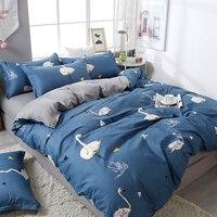 Modern bird reactive printed bed linen set sheet pillowcase&duvet cover bedding set 3/4pcs home bed set No quilt