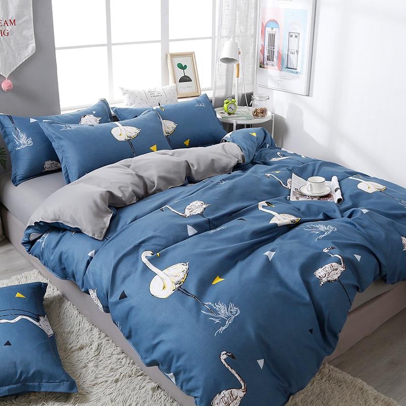 Moderne oiseau réactif imprimé linge de lit ensemble feuille taie d'oreiller et housse de couette ensemble de literie 3/4 pièces maison lit ensemble pas de couette