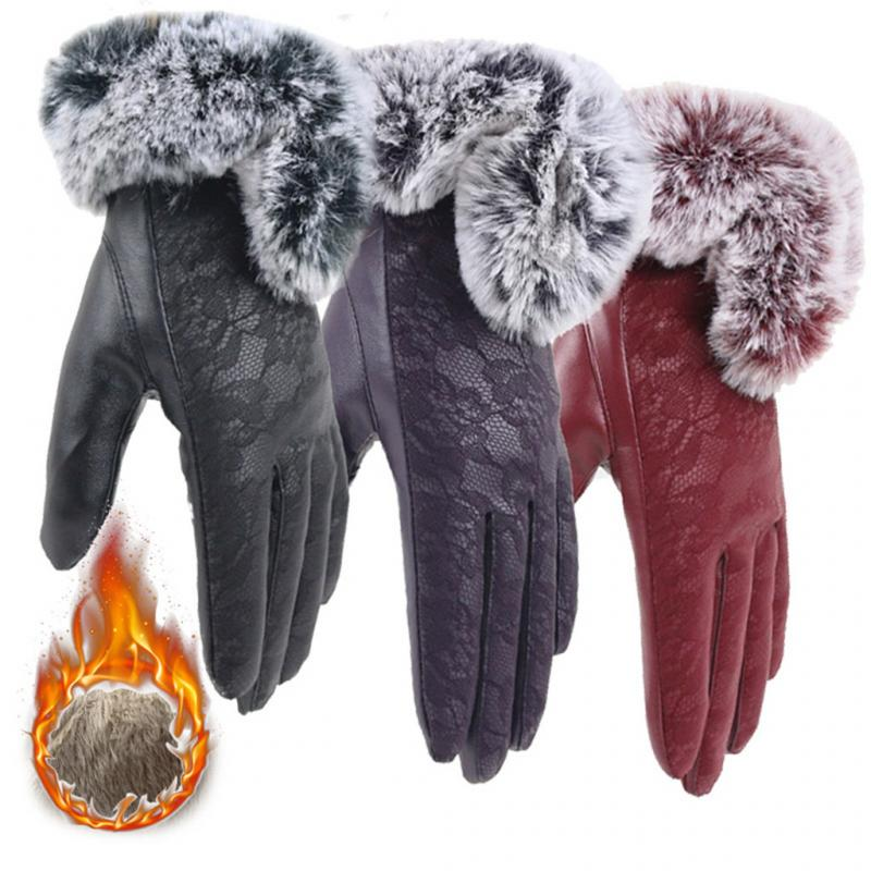 Female Glove Keep Warm Gloves Winter Women Velvet Mitten Lace Gloves Cycling Mittens For Phone Leather Glove Guantes Luva