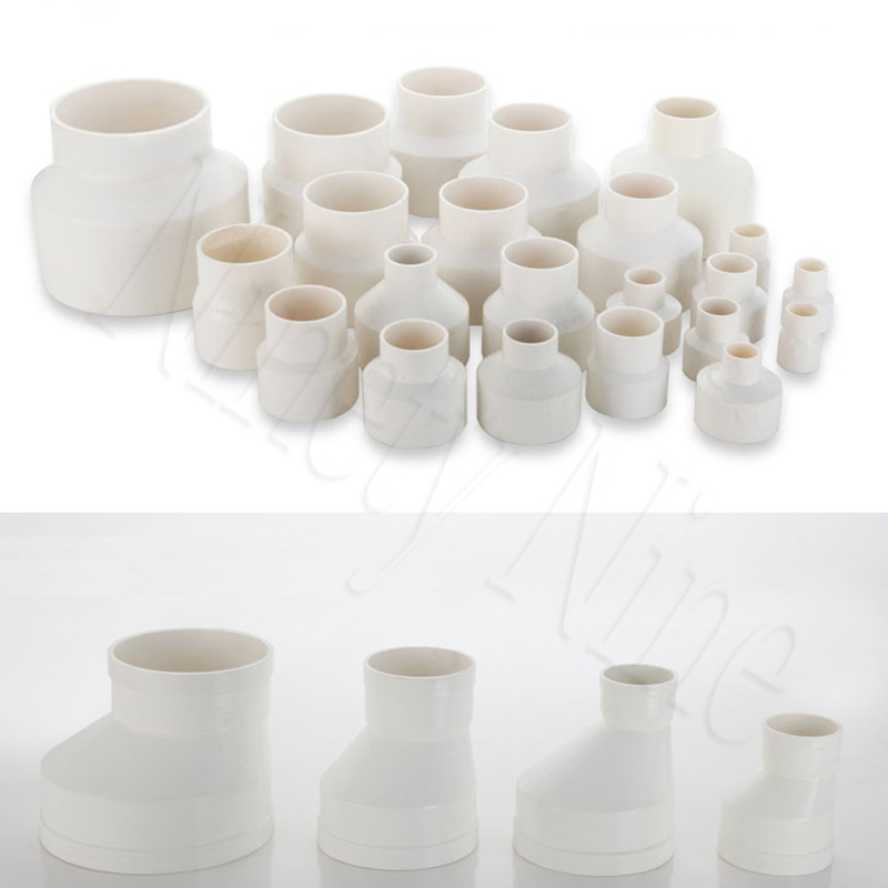 White DWV Reducing PVC Tube Pipe Fitting Eccentric Off Center Coupling Reducer