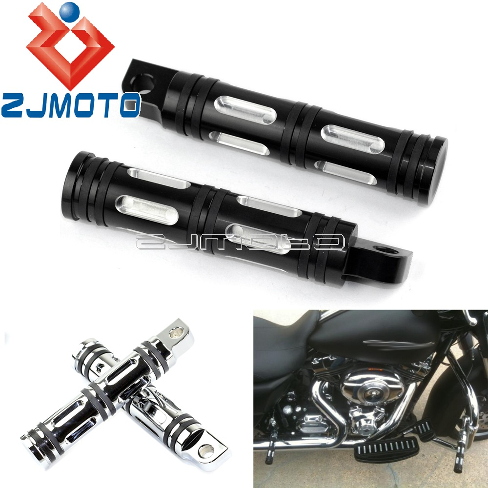 Black Motorcycle Edge Cut Foot Rest Highway Foot Pegs Male Mount Footrests For Harley Sportster SoftailDyna Touring Custom