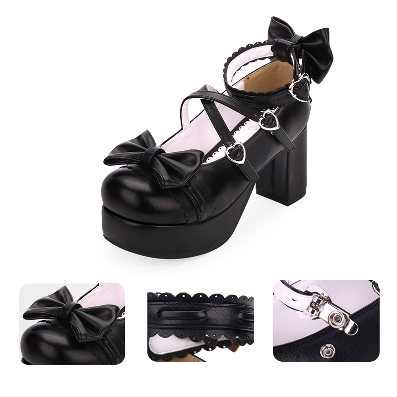 New Japanese Style Lolita Shoes Anime Cosplay Shoes Girls Princess Shoes Women Shoes w/Bowknot Halloween High Heels