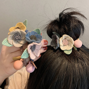 New Women Girls Knitting Wool Two Flowers Simple Elastic Hair Bands Cute Rubber Band Scrunchie Headband Fashion Accessories - discount item  30% OFF Headwear
