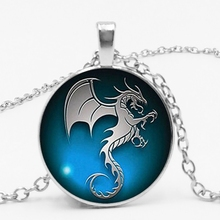 statement / New Hot Dragon Flying Seahorse Pattern Glass Necklace Men and Women Clothing Accessories Pendant Necklace.