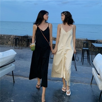 цена на Women Maxi Dress Loose Pleated Sexy V-neck Sling Dress Womens Long Dresses Plus Size