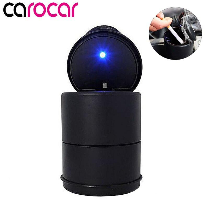Carocar светодиодный портативный автомобильный Пепельница держатель чашка черный автомобиль высокий огнестойкий мусор автоматический свети...