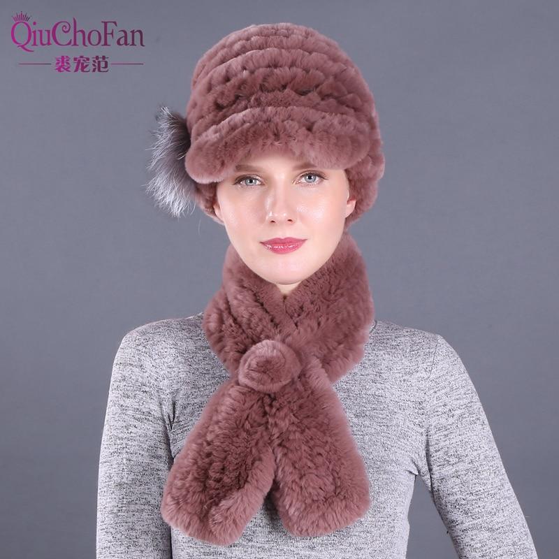 2019 New Brand Women Genuine Rex Rabbit Fur Hats Scarves Knit Lady Winter Natural Fur Caps Scarves Sets 2 Pieces Hats Muffles
