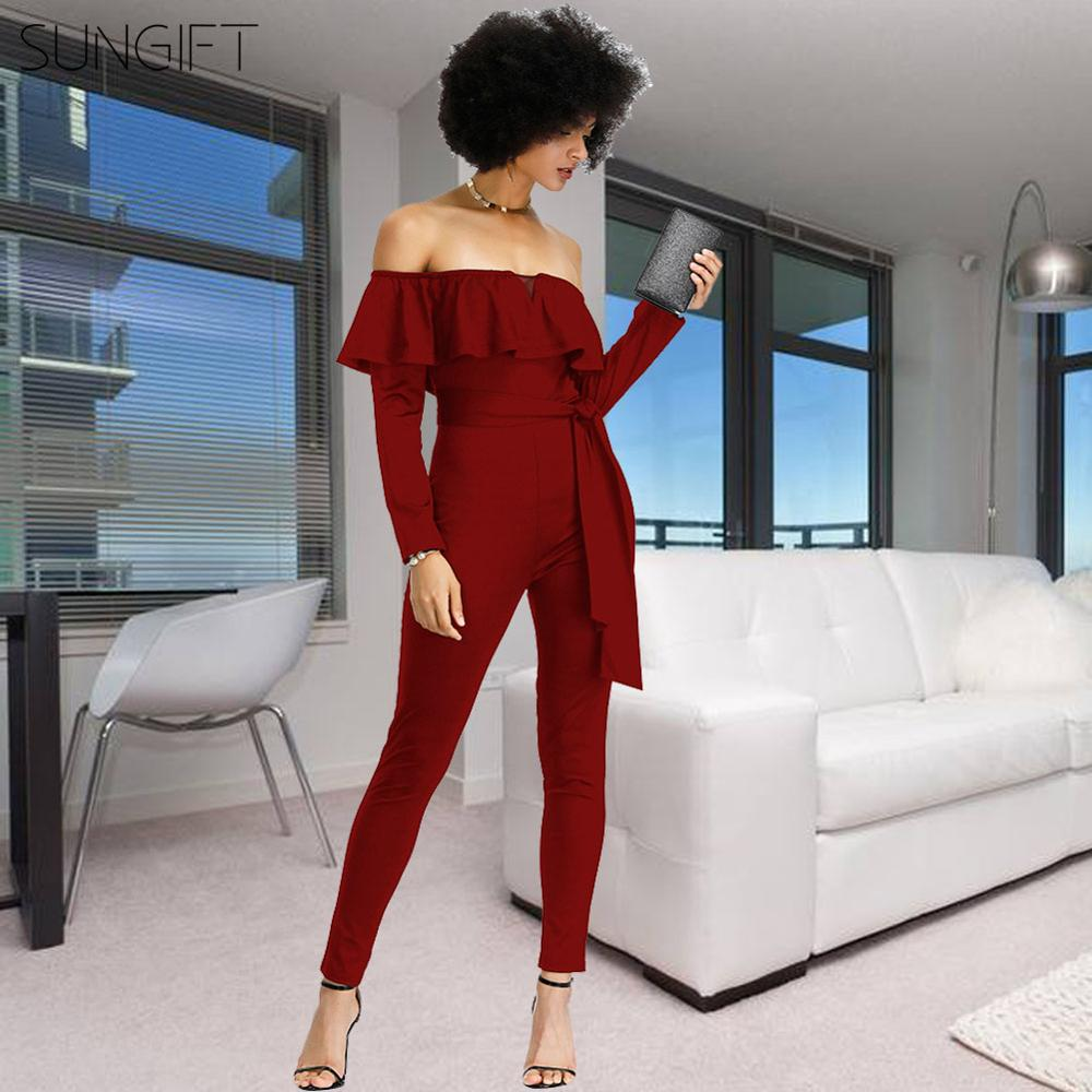 SUNGIFT Dashiki African Clothes Office Formal Overalls For Women Elegant Casual V-Neck Strapless Jumpsuit Wide Leg For Autumn