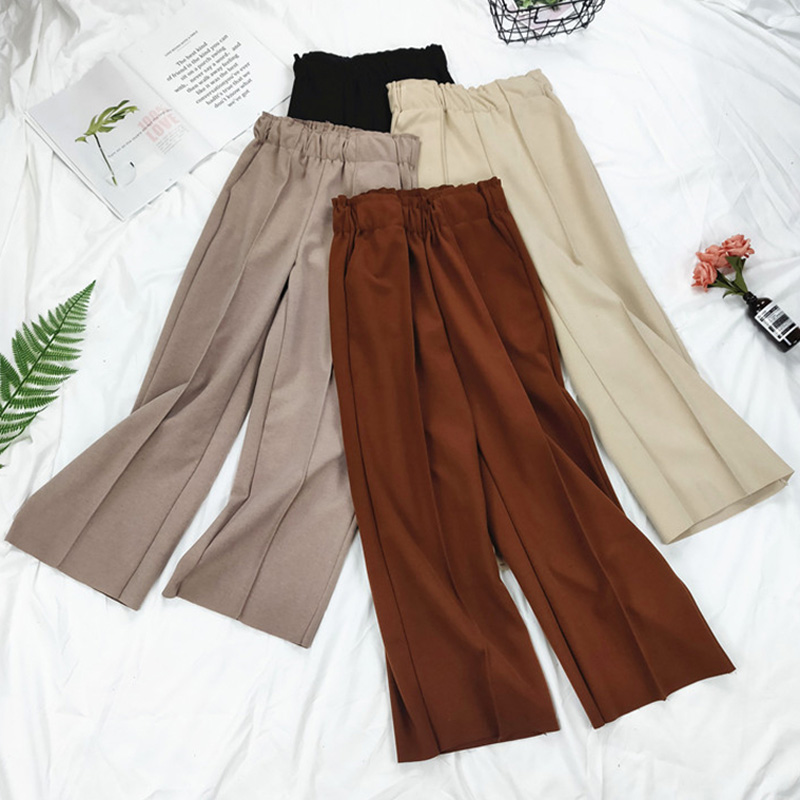 BGTEEVER Elegant Warm Thick Pants Women Elastic Waist Wide Leg Pant Female Trousers Loose Casual Female Pants 2019 Autumn Winter