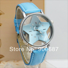 Fashion Transparent Hollow Dial Star Watches Womens Leather Band Quartz relogio feminino hodinky