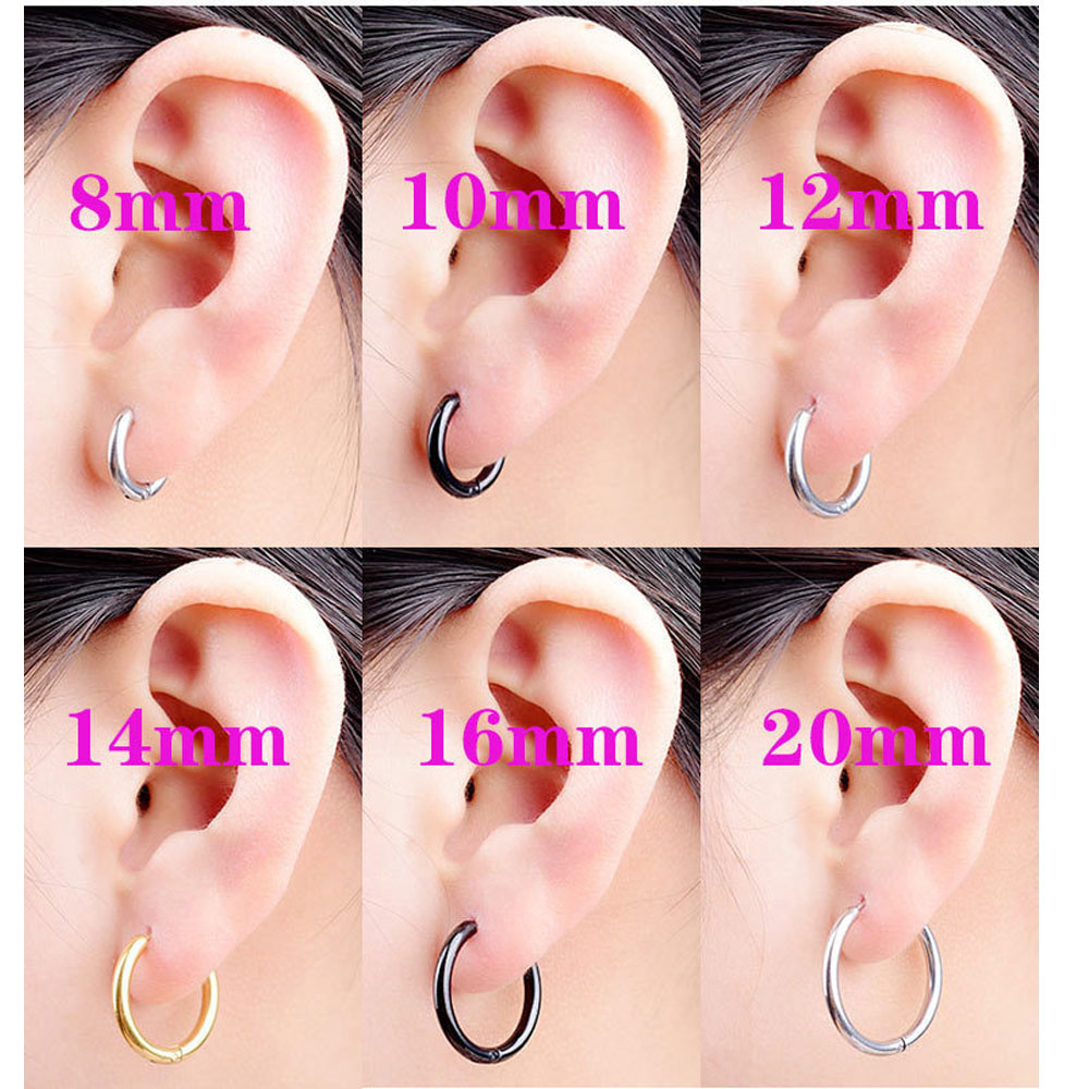 2PC /Set Stainless Steel Small Hoop Earrings For Women Men Gold Silver Black Circle Ear Ring Earrings Helix Hoop Piercing 10mm