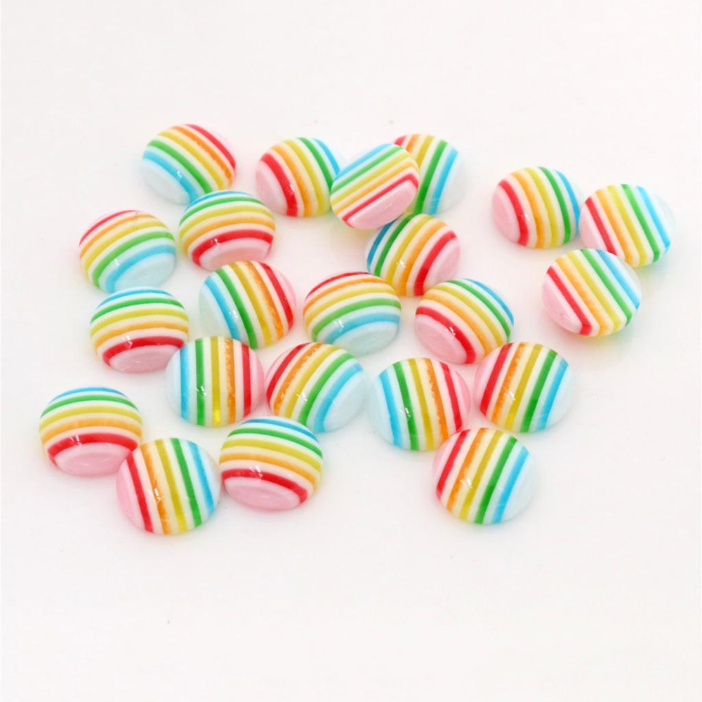 New Fashion 40pcs 12mm Light Rainbow Colors Stripe Style Flat Back Resin Cabochons Fit 12mm Cameo Base Cabochons-W3-18
