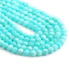 Natural Stone Beads Small Faceted Amazonite 4,5mm Section Loose for Jewelry Making Necklace DIY Bracelet (38cm)