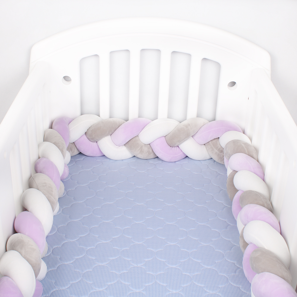 200cm/300cm Baby Bed Bumper Knot Long Handmade Knotted Braid Weaving Plush Baby Crib Protector Infant Knot Pillow Room Decor