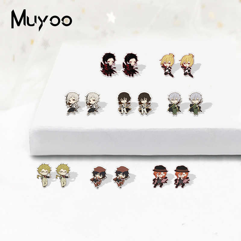 Model Kawaii Baru Bungo Stray Dogs Ikon Anime Akrilik Resin Bungo Stray Dogs Cratoon Print Anting Epoksi Akrilik Buatan Tangan