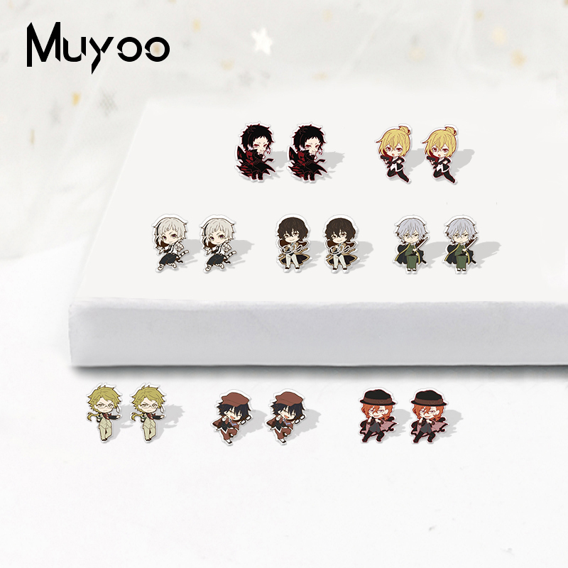 New Kawaii Style Bungo Stray Dogs Anime Icons Acrylic Resin Bungo Stray Dogs Cratoon Print Handmade Acrylic Epoxy Earrings