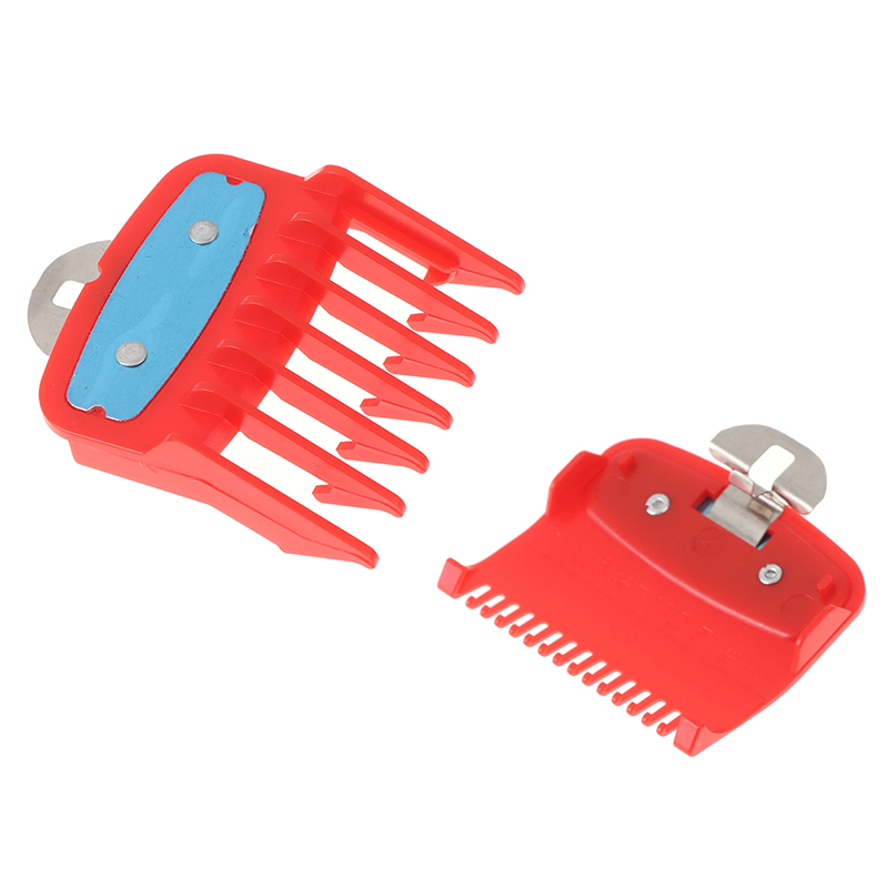 Professional Clipper Replacement 2Ppcs(1.5mm+4.5mm) Guide Comb Sets 1.5 And 4.5 Mm Size Red Color Attachment Comb Set