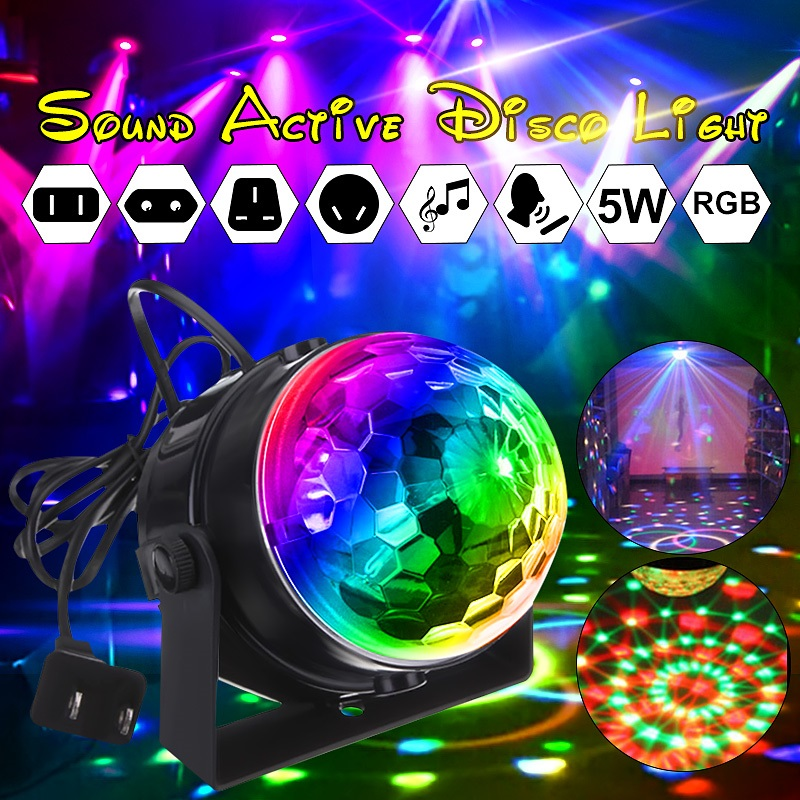 Mini RGB LED Crystal Magic Rotating Ball  Lights Sound Activated Disco Light Music Christmas KTV Party EU/US/UK/AU 100-240V
