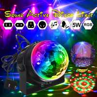 Mini RGB LED Crystal Magic Rotating Ball Lights Sound Activated Disco Light Music Christmas KTV Party EU/US/UK/AU 100-240V